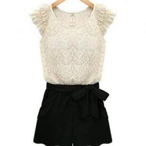 Black and White Lace Jumper-suite