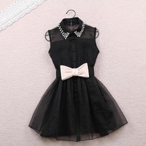 Beaded Dress with Bow in Black and ..