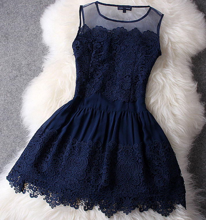 Dark Blue Lace Dress on Luulla
