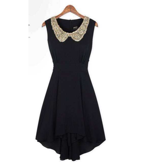 BLACK Dress with Shining Collar