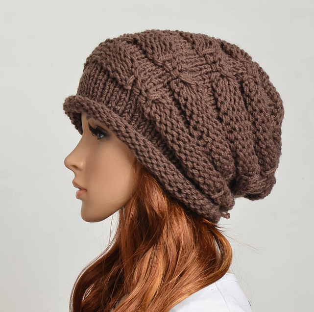 Woolen Crochet : Wool Handmade Knitted Crochet Hat Woman Clothing - Brown on Luulla