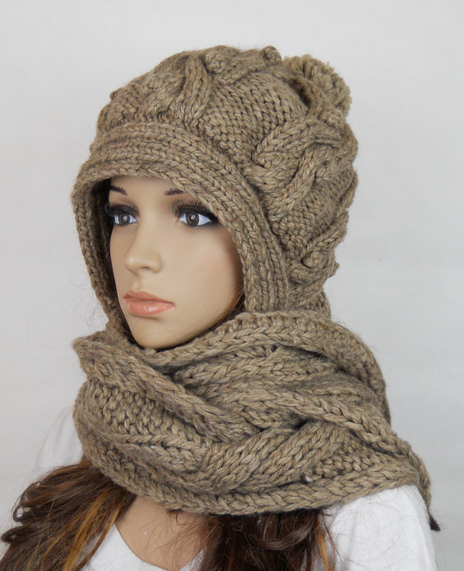 Handmade Knitted Crochet Hooded Scarf Hat Woman Clothing Wool on