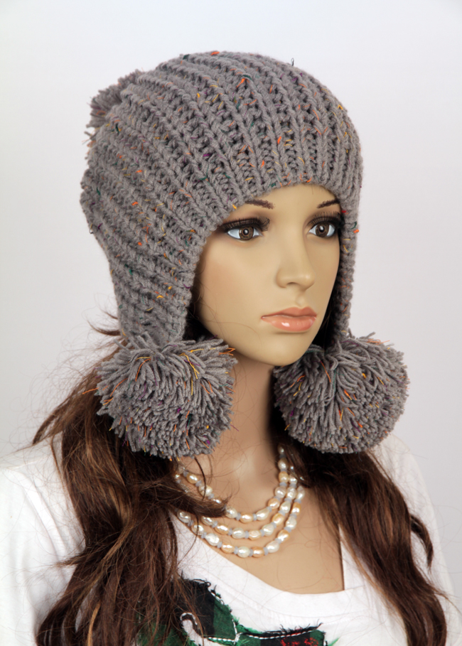 Womens Knit Hat Pattern : Slouchy Woman Handmade Knitted Hat Clothing Cap on Luulla