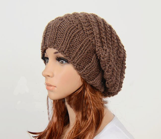Knit Hat : Slouchy Woman Handmade Knitted Hat Clothing Cap Brown on Luulla