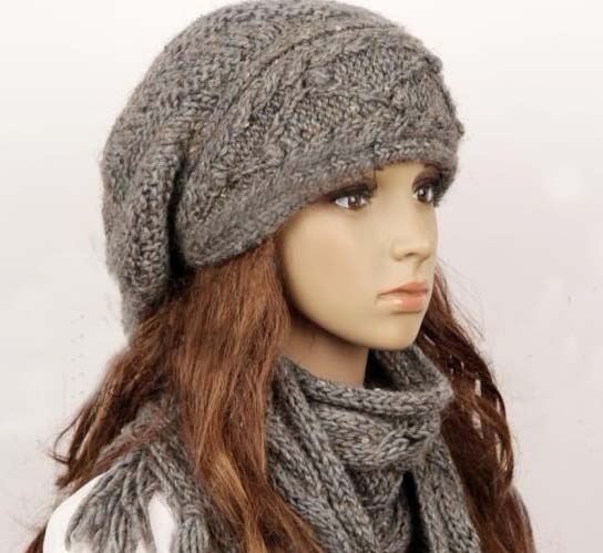 Knitting Pattern For Ladies Hat And Scarf : Wool Slouchy Woman Handmade Knitting Hat And Scarf Set - Light Beige on Luulla