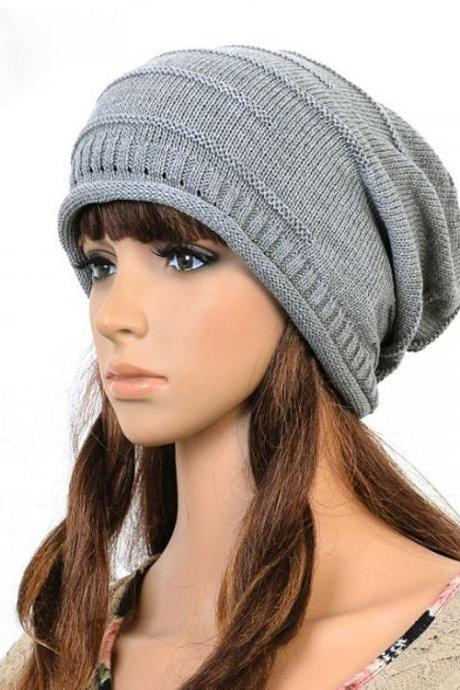 Gray Slouchy Knitted Hat Cap Bonnie