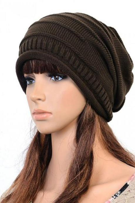 Brown Slouchy Knitted Hat Cap Bonnie