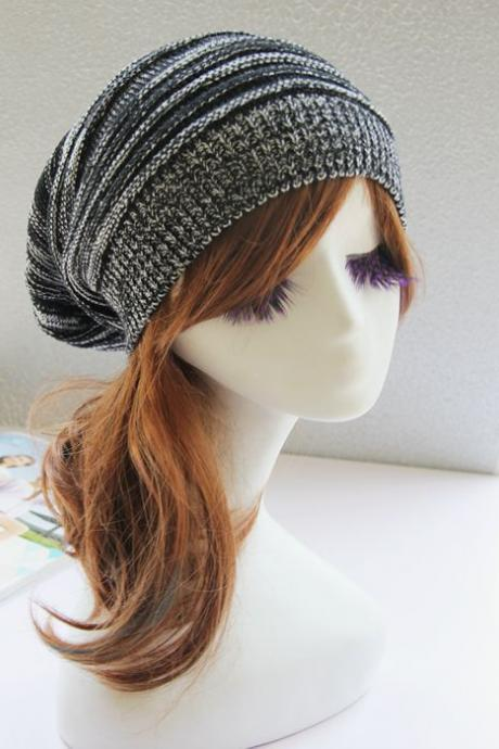 Black and White Slouchy Knitted Hat Cap Bonnie