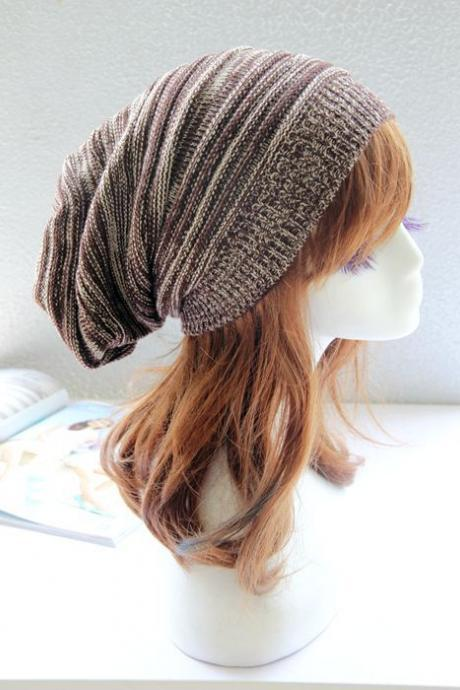 Brown and white Slouchy Knitted Hat Cap Bonnie