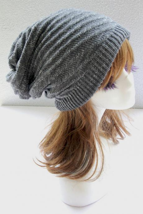 Gray Double Side Slouchy Knitted Hat Cap Bonnie