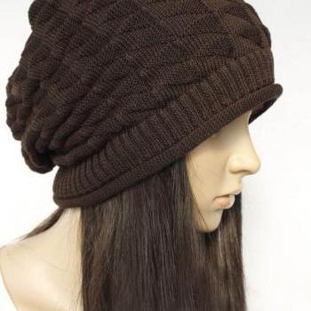 Brown Slouchy Knitted Hat