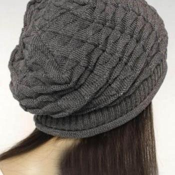 Grey Slouchy Knitted Hat
