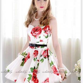 Sleeveless A-Line Belted Rose Print Dress in White