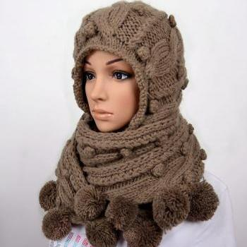 Free Knitting Pattern For A Hooded Scarf : Handmade Knitted Crochet Hooded Scarf Hat Woman Clothing ...